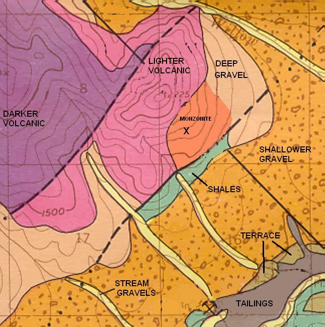 Geologic Map of Moore Creek with Notations
